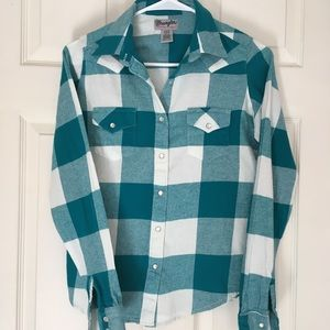 Wrangler teal and white flannel shirt, small